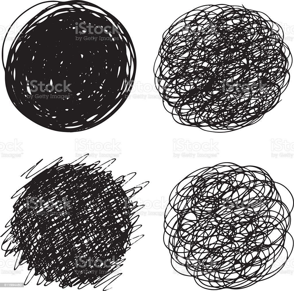 Hand drawn circles vector art illustration