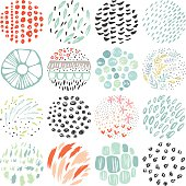 Hand drawn circular textures and grunge doodle elements. Good for creative and greeting cards, posters, flyers, banners and covers. Vector