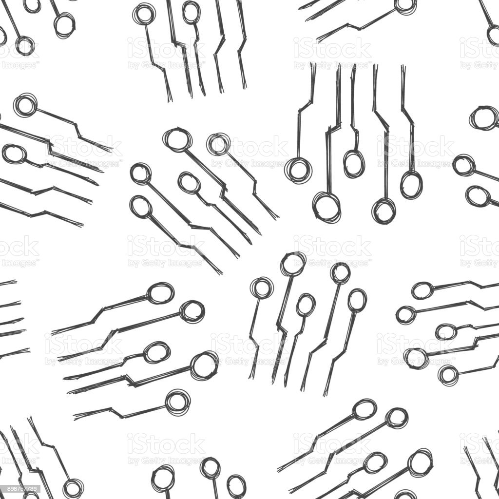 Hand drawn circuit board seamless pattern background. Business flat vector illustration. Technology scheme circuit board sign symbol pattern. vector art illustration