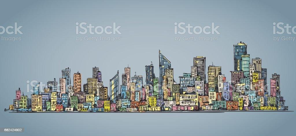 Hand drawn city skyline vector art illustration