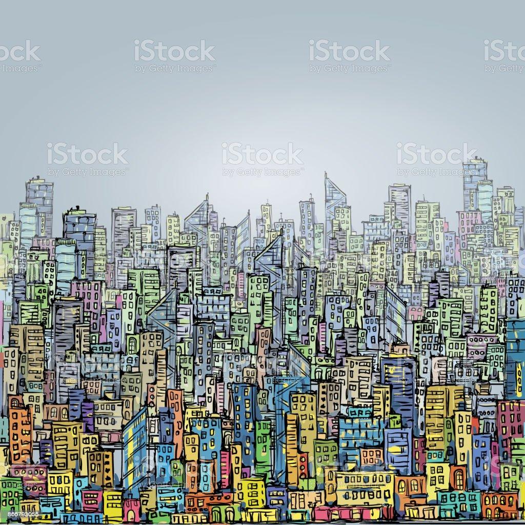Horizonte de la ciudad dibujado mano - ilustración de arte vectorial