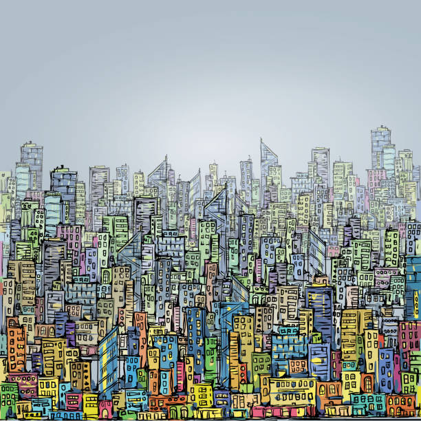 ilustraciones, imágenes clip art, dibujos animados e iconos de stock de horizonte de la ciudad dibujado mano - señalización vial