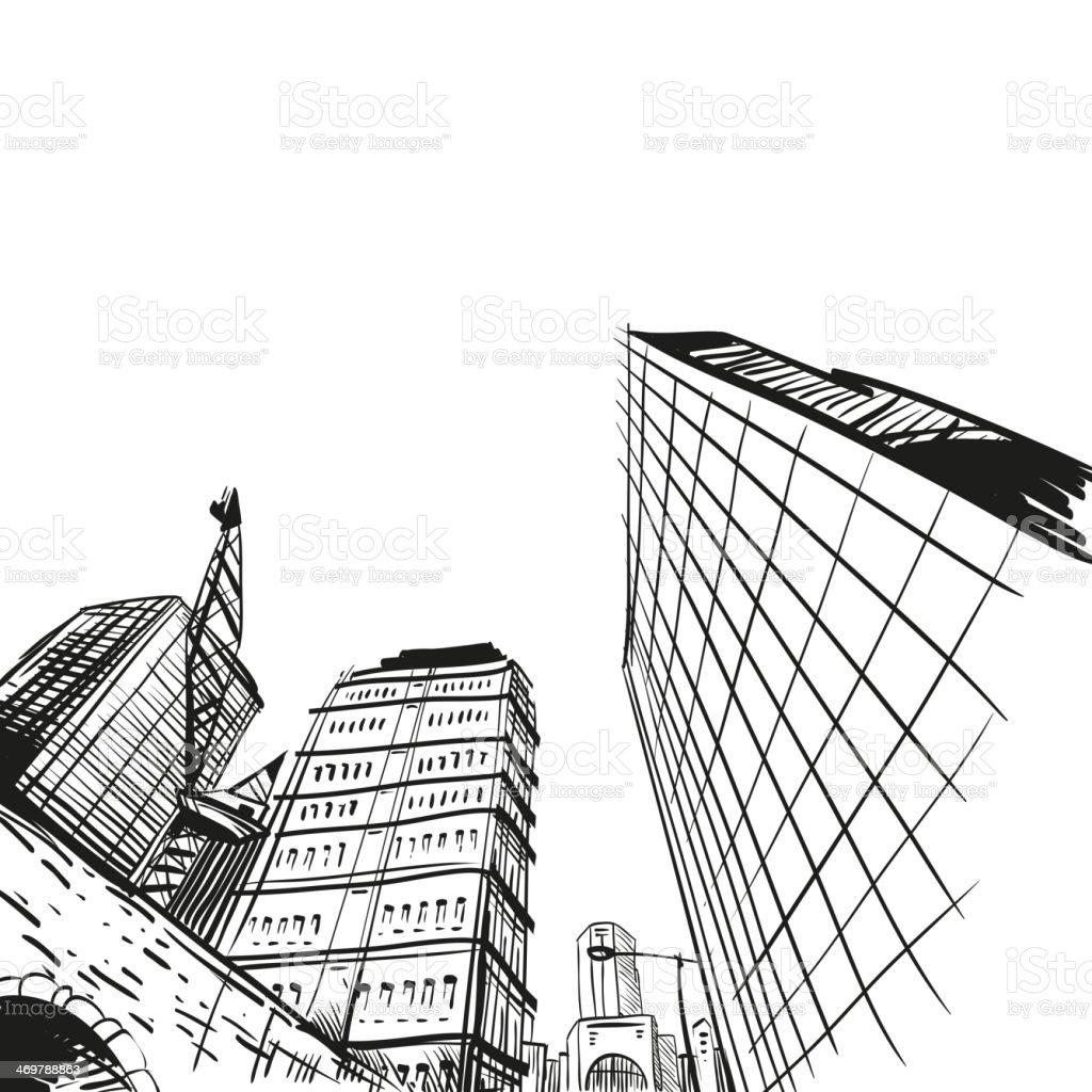Hand drawn cityscape, vector illustration vector art illustration