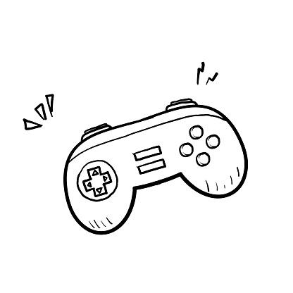 hand drawn classic game controller. joystick doodle