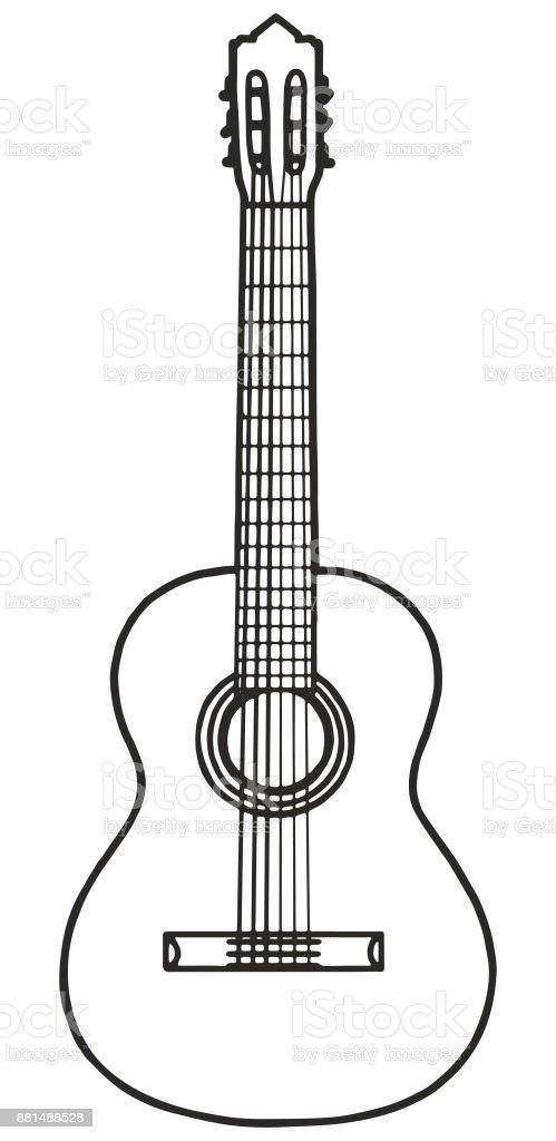 Ilustración de Guitarra Clásica Dibujada A Mano y más banco de ...