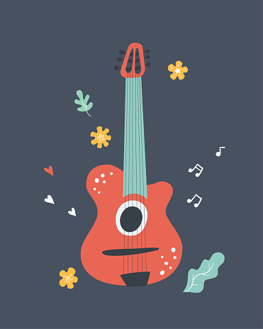 Hand drawn classical acoustic guitar. Print for music festival or t-shirt. Vector illustration