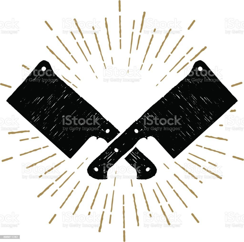 Couteaux de fendoir dessinés à la main vector illustration. - Illustration vectorielle