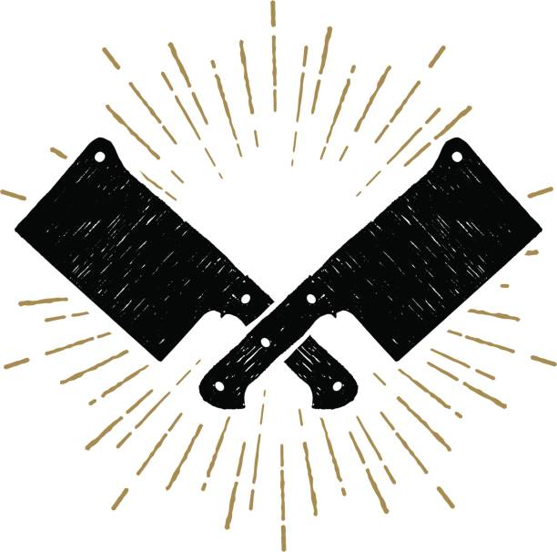 ilustrações de stock, clip art, desenhos animados e ícones de hand drawn cleaver knives vector illustration. - meat texture