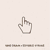 istock Hand Drawn Click Hand Icon with Editable Stroke 1267514590