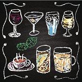 Hand drawn cocktail menu elements.