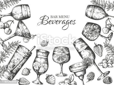Hand drawn cocktails background. Alcoholic beverages and lemonades sketch frame. Vector summer cold bar drinks menu background engraved