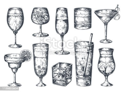 Hand drawn cocktails. Glasses with alcoholic drinks tonic and lemonade, martini gin rum and tropical beverages. Vector vintage isolated sketch drinking retro cocktail
