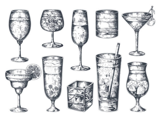 hand drawn cocktails. glasses with alcoholic drinks tonic and lemonade, martini gin rum and tropical beverages. vector isolated sketch - koktajl alkoholowy stock illustrations