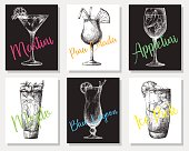 Hand drawn cocktails on individual cards. Vector illustration in sketch style