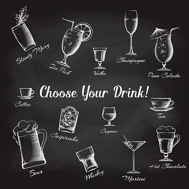 hand drawn cocktails set on chalkboard - refreshment stock illustrations, clip art, cartoons, & icons