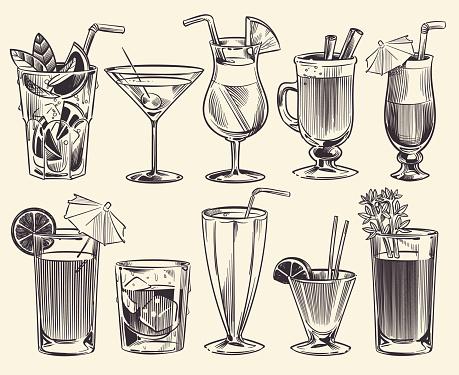 Hand drawn cocktails. Sketch cocktails and alcohol drinks, cold beverages different glasses. Restaurant alcoholic drinks vector set