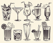 Hand drawn cocktails. Sketch cocktails and alcohol drinks, cold beverages different glasses. Restaurant alcoholic summer drinking with ice and juice vector set