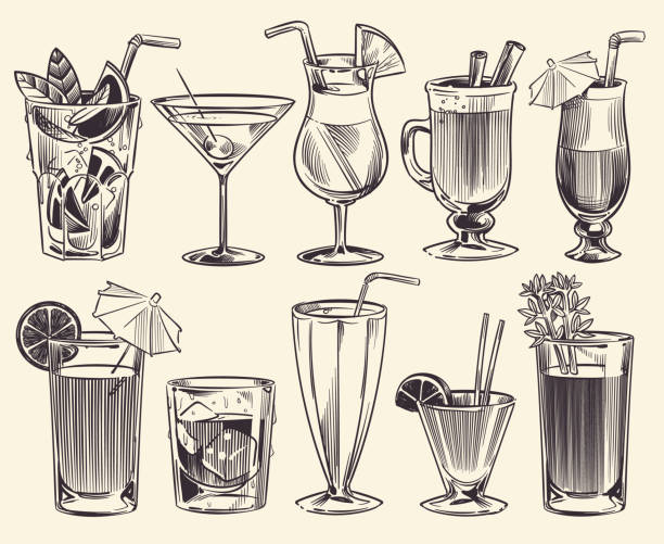 illustrazioni stock, clip art, cartoni animati e icone di tendenza di hand drawn cocktails. sketch cocktails and alcohol drinks, cold beverages different glasses. restaurant alcoholic drinks vector set - aperitivo