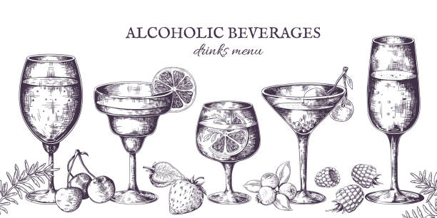 illustrazioni stock, clip art, cartoni animati e icone di tendenza di hand drawn cocktails. vintage alcoholic menu sketch, liquor beverages and lemonades. vector isolated tropical bar drinks in line - aperitivo