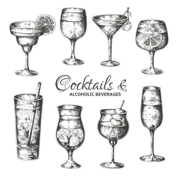 bildbanksillustrationer, clip art samt tecknat material och ikoner med handritade cocktails. vintage glas med sprit och alkoholhaltiga drycker, sommar drinkar skiss meny. vektor tropiska drycker som - vin sommar fest
