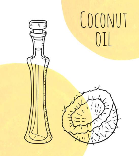 Botella de aceite de coco elaborado mano con manchas acuarela crema - ilustración de arte vectorial