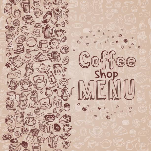 hand drawn coffee background vector art illustration