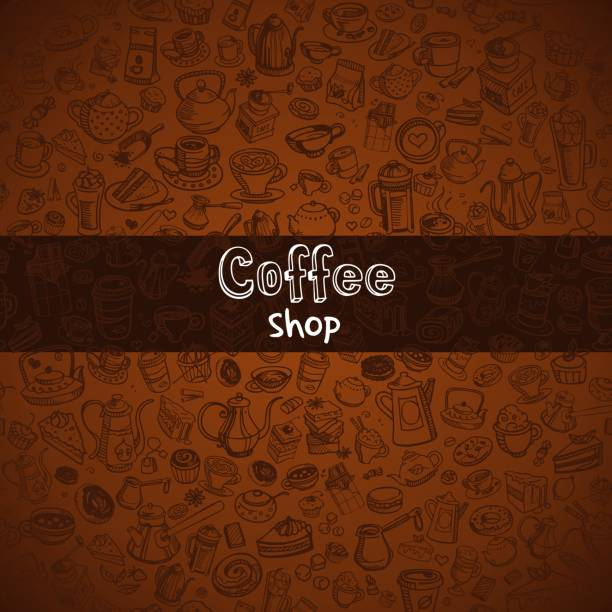 hand drawn coffee background - cinnamon roll stock illustrations, clip art, cartoons, & icons