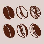 Hand drawn coffee beans.