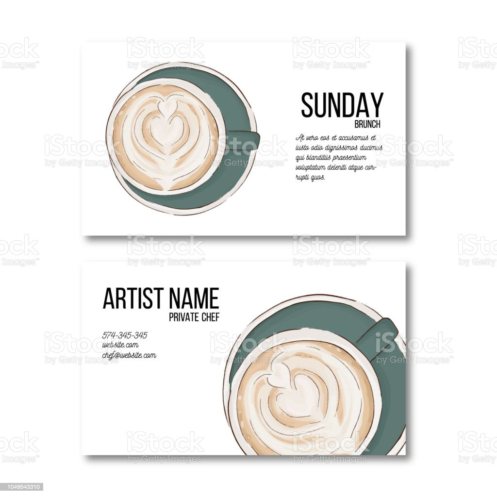 Carte De Visite Pour Le Tasse Caf Dessin La Main Dpliant Boisson