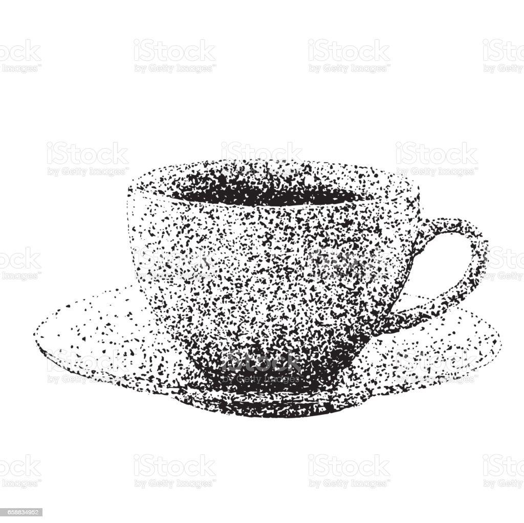 Hand Gezeichnet Kaffeetasse Mit Getüpfelt Technik Stock Vektor Art