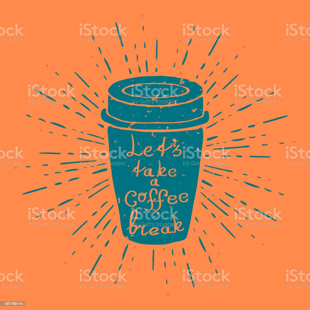 Hand Drawn Coffee Cup with vintage sun burst Vector vector art illustration