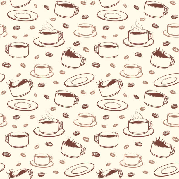 Hand drawn coffee cups vector seamless pattern vector art illustration