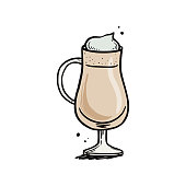 Hand drawn coffee drink with glass cup. Sketch doodle style. Coffee cup isolated vector illustration.