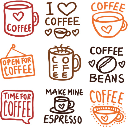 Hand drawn coffee icons doodle icon set