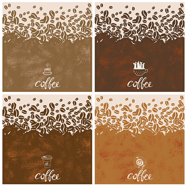 hand drawn coffee illustration. type with coffee objects and texture. - ziarno kawy palonej stock illustrations