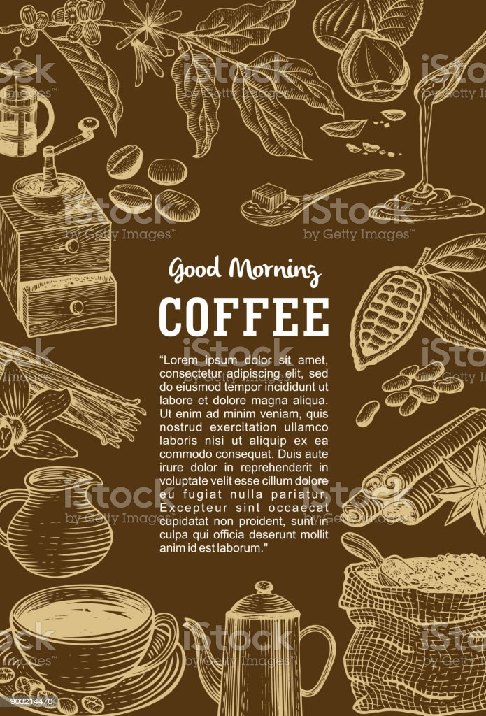 Hand drawn coffee menu, Vector vector art illustration