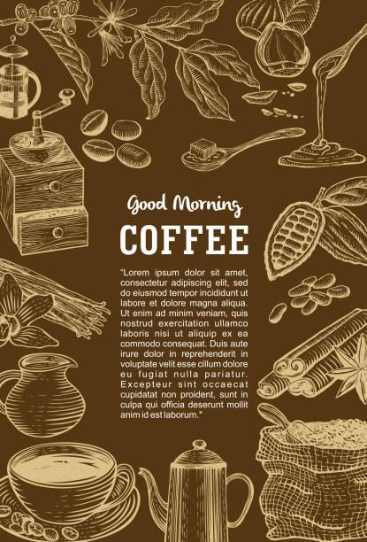 Hand drawn coffee menu, Vector vector art illustration