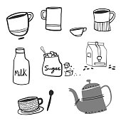 Vector illustration of a set of coffee related objects