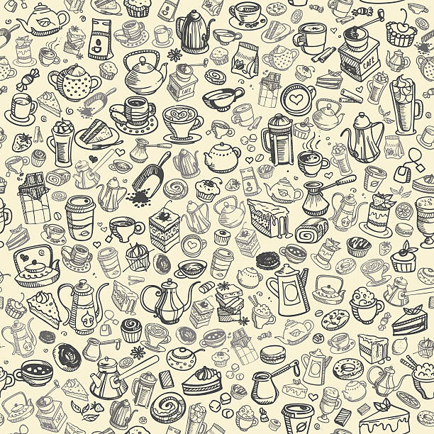 hand drawn coffee pattern - cinnamon roll stock illustrations, clip art, cartoons, & icons