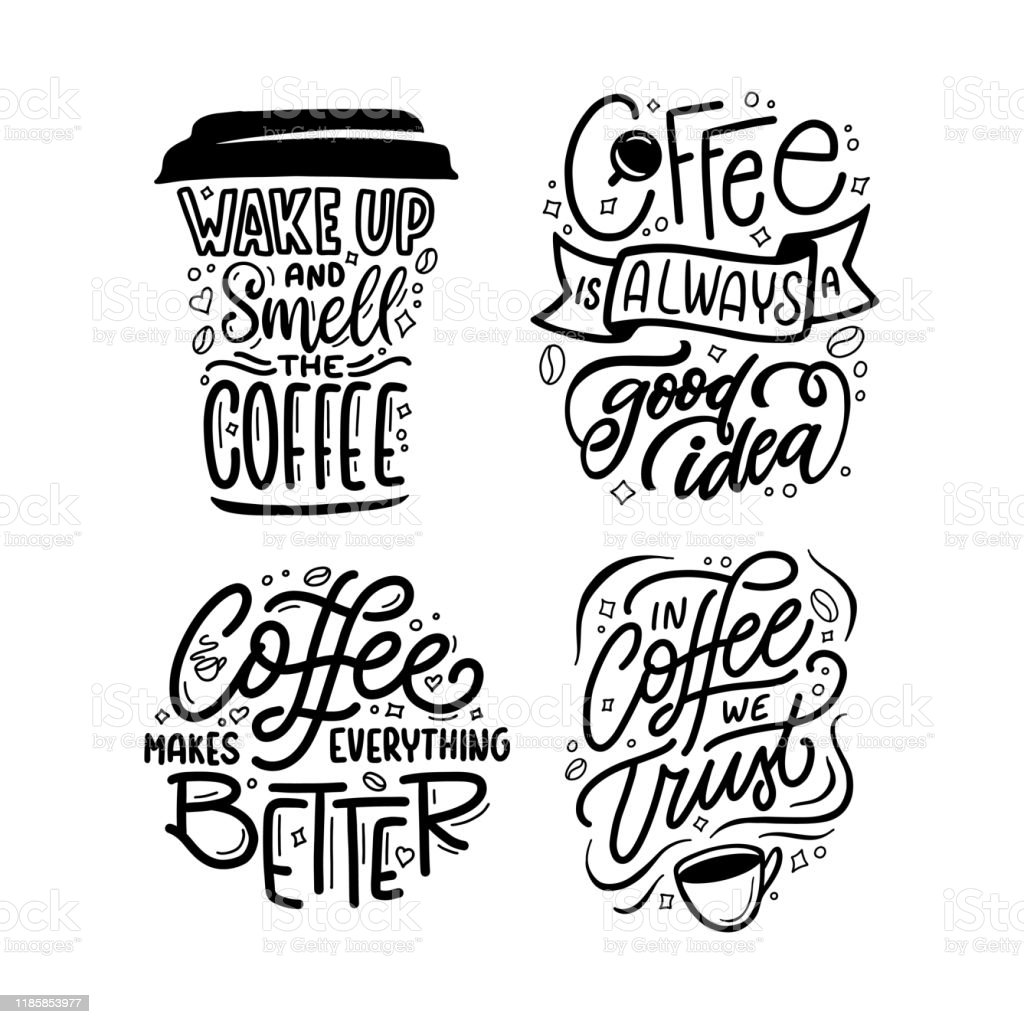 hand drawn coffee quotes set vector vintage illustration stock