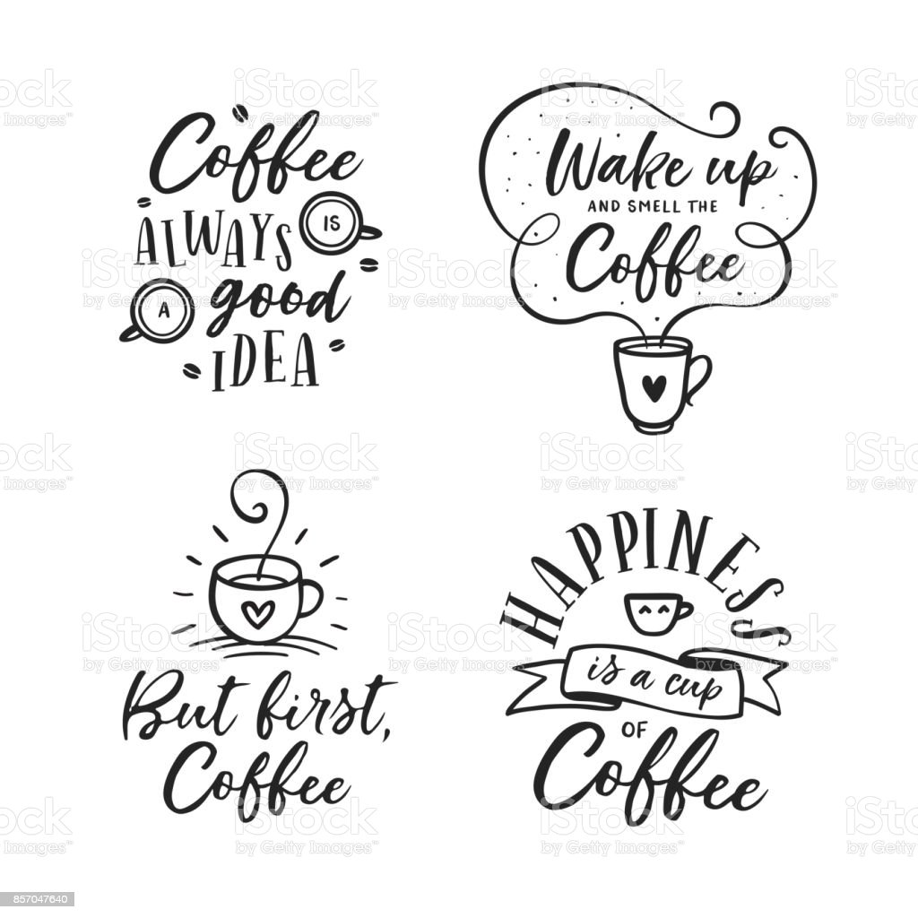 Hand Drawn Coffee Related Quotes Set Vector Vintage Illustration