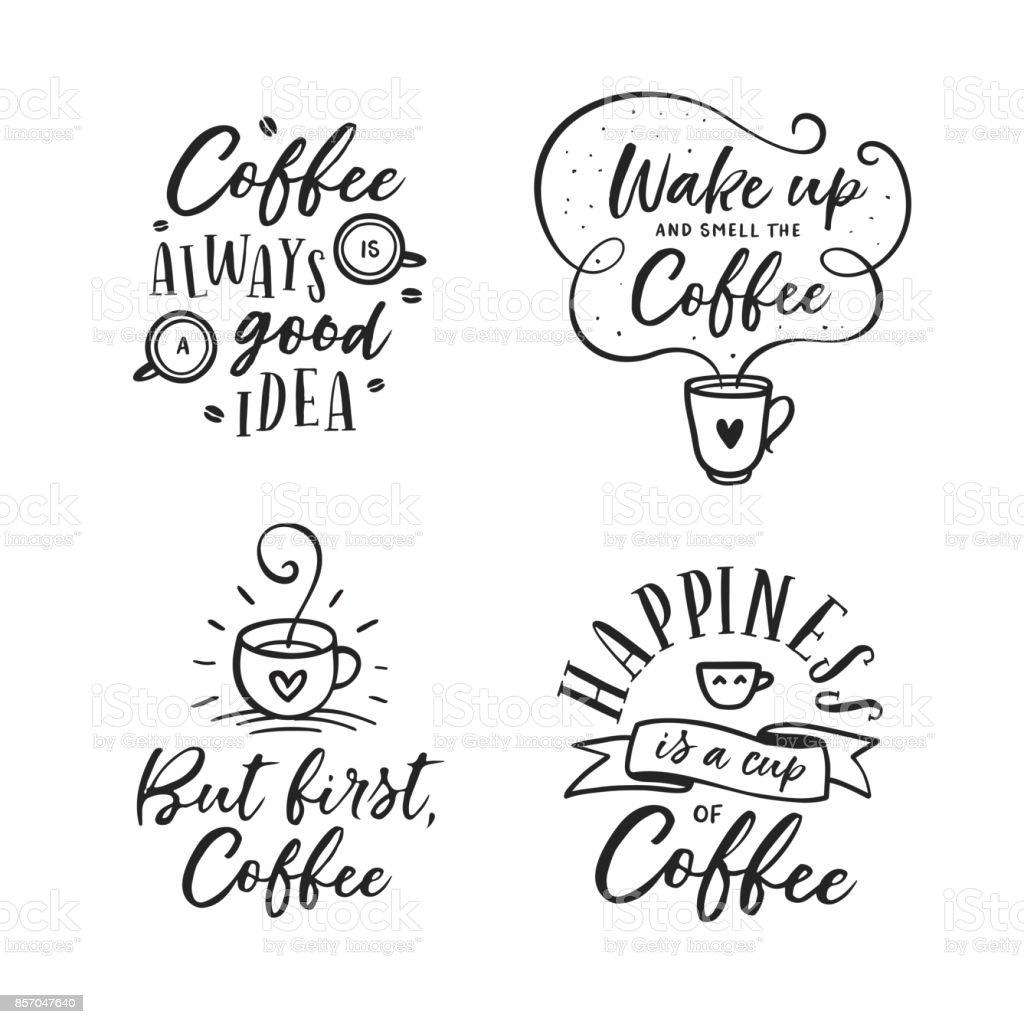 Hand Gezeichnet Kaffee Im Zusammenhang Zitiert Satz Vintage ...