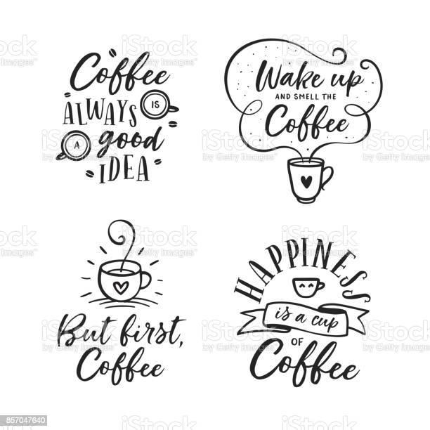 Hand drawn coffee related quotes set vector vintage illustration vector id857047640?b=1&k=6&m=857047640&s=612x612&h=vtq7addumaia s2egvvr1l6ll0fqxqklrguhbfimz3g=