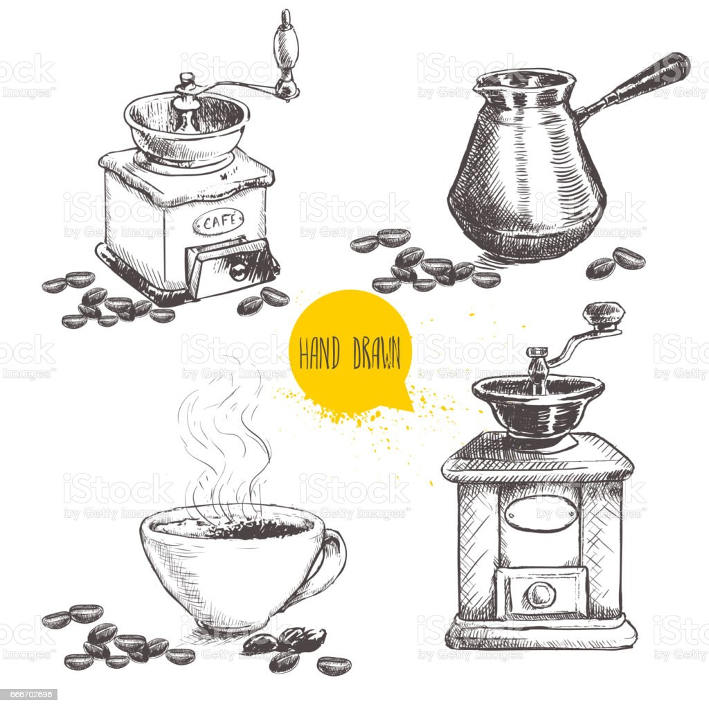 Hand drawn coffee set. Coffee mill, turkish coffee cezve and cup with beans. vector art illustration