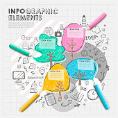 hand drawn collage style vector color pencil  infographic elements