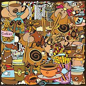 Hand Drawn Collage Texture with Coffee theme. Background for cafe menu. Doodles style.
