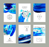 Hand drawn collection of artistic invitations made by acrylic homemade texture with trendy geometric icons and logotypes. Artistic background. Wedding, marriage, bridal, birthday, Valentine's day