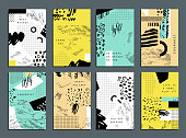 Hand drawn collection of artistic invitations with trendy colors, shapes and textures. Wedding, marriage, bridal, birthday, Valentine's day. Isolated