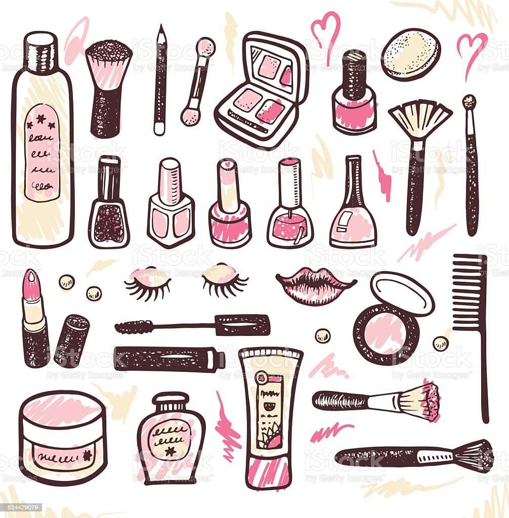 Hand drawn collection of cosmetics illustration vector art illustration