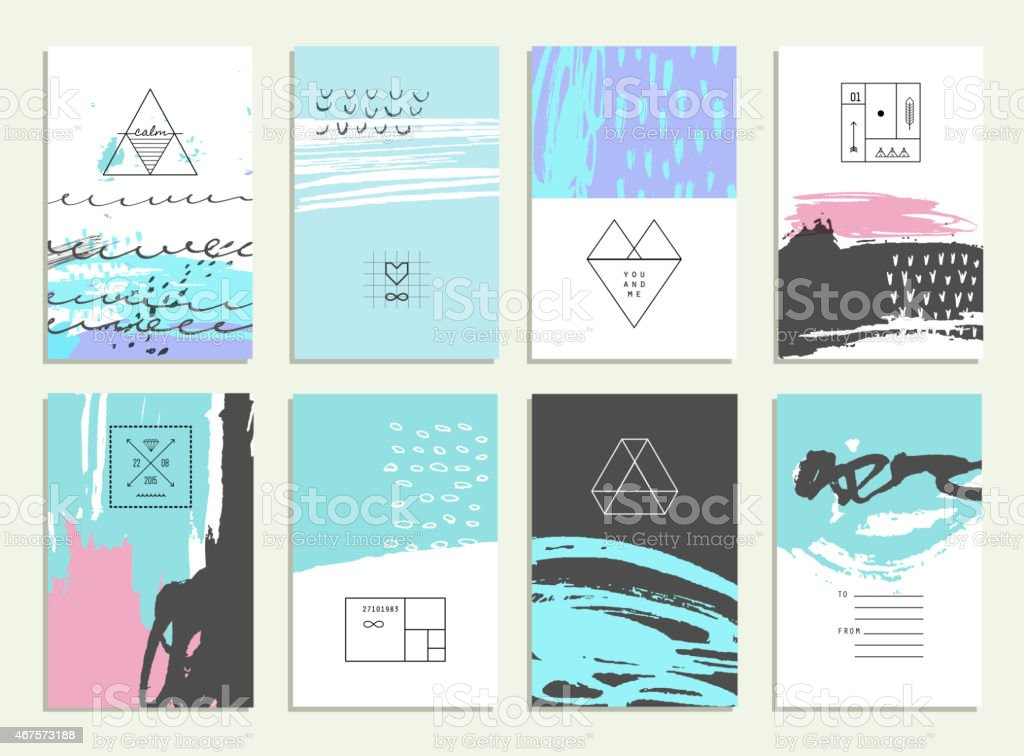 Hand drawn collection of  invitations with geometric icons and logotypes. vector art illustration